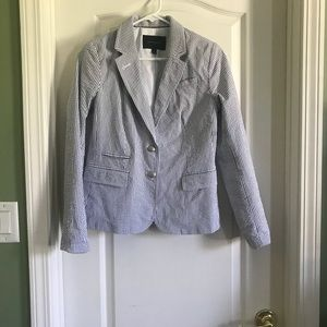 Banana Republic Gray and White Stripped Blazer